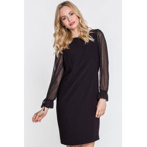 Sukienka z szyfonowymi rękawami - EMOI, kolor czarny