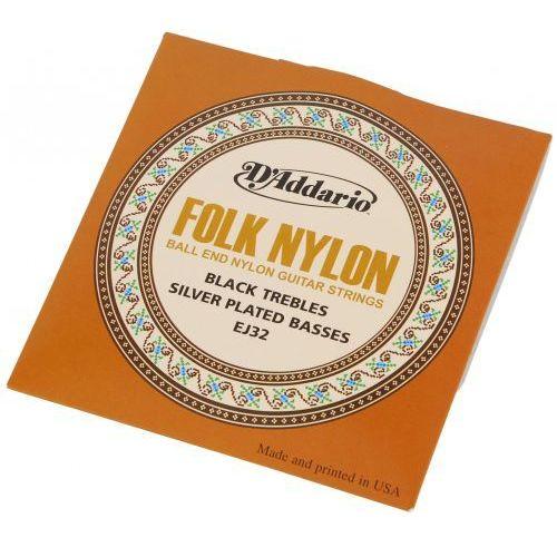 D′Addario EJ-32 struny do gitary klasycznej Folk Nylon zakończone kulką