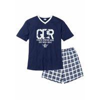Piżama z krótkimi spodenkami bonprix ciemnoniebiesko-biały, w 5 rozmiarach