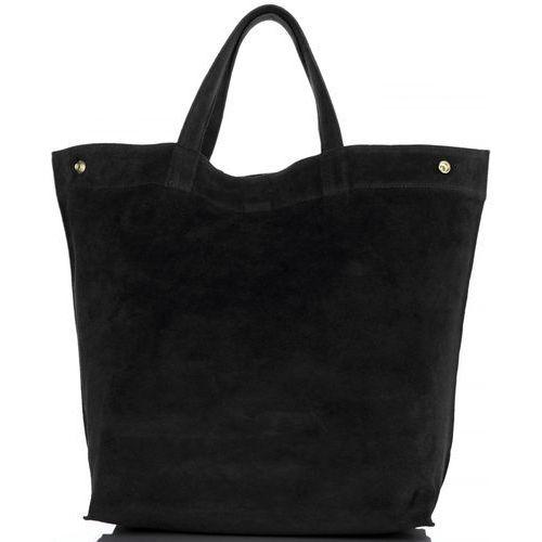 Torebki Skórzane Włoski ShopperBag w rozmiarze XL firmy Vera Pelle Czarny (kolory)