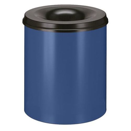 Kosz na papier, samogaszący, poj. 80 l, korpus niebieski / głowica gasząca czarn