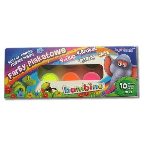 Farby plakatowe 10 kolorów Bambino, 5903235001956