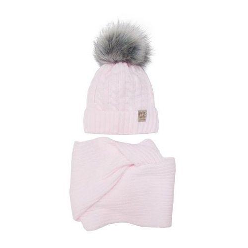 Komplet 38-506 czapka+komin 52-56 cm rozmiar: uniwersalny, kolor: różowy, ajs marki Ajs