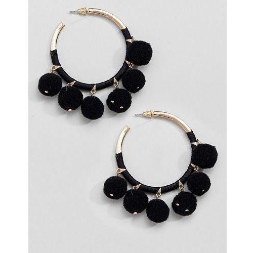 River island hoop pom pom earrings - black