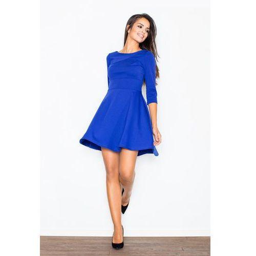 775c40e383 Niebieska elegancka sukienka z rozkloszo.