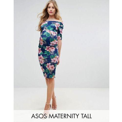 Asos maternity  tall half sleeve bardot dress in palm print floral - navy
