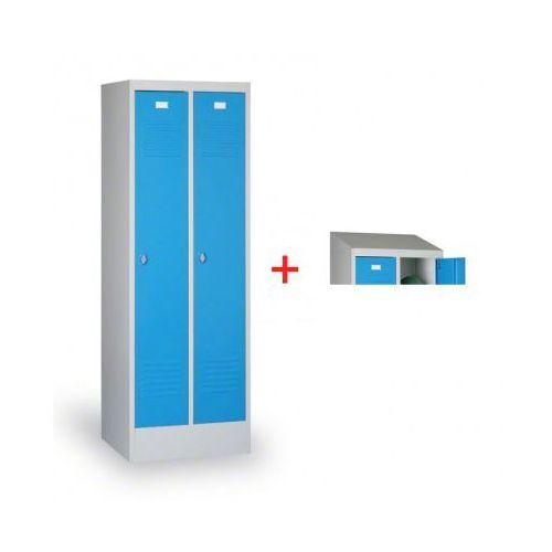 B2b partner Szafka ubraniowa ekonomik, niebieskie drzwi, zamek obrotowy + daszek gratis