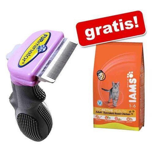 Furminator deshedding tool + karma sucha iams, 3 kg gratis! - małe koty / długość sierści powyżej 5 cm (8117940113218)