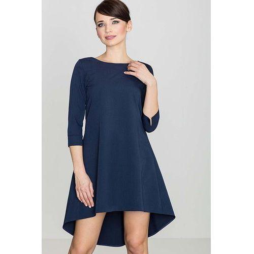 Granatowa Asymetryczna Sukienka z Plisami, w 4 rozmiarach