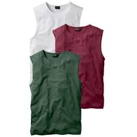 Shirt bez rękawów (3 szt.) regular fit bordowy + ciemnozielony + biały marki Bonprix
