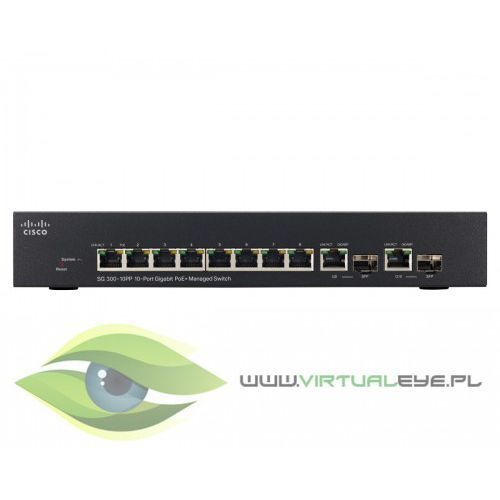Cisco sg300-10pp, 8x gigabit (poe+) + 2x sfp switch