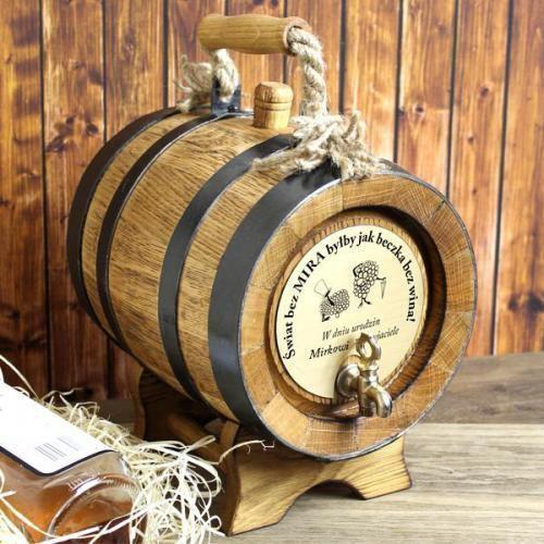 Dębowa beczka na alkohol z rączką (5 litrów) + opcja grawerowania