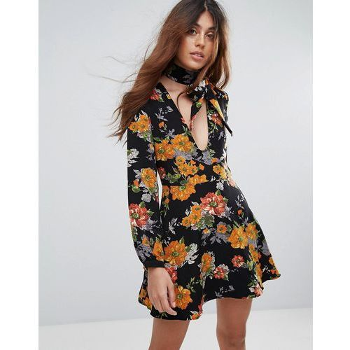 Glamorous Floral Print Skater Dress With Tie Neck - Multi