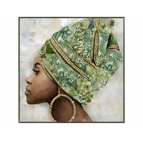Obraz olejny marissa ręcznie malowany, w etnicznym stylu – 80 × 80 cm – kolor zielony marki Vente-unique