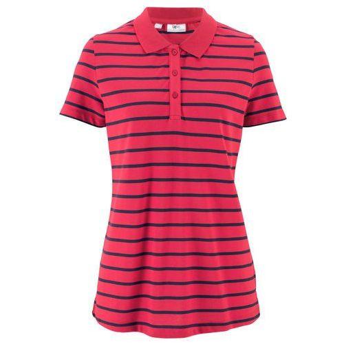 Bonprix Shirt polo w paski, krótki rękaw czerwono-ciemnoniebieski