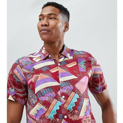 Reclaimed Vintage Inspired Shirt With Abstract Print And Short Sleeves - Red
