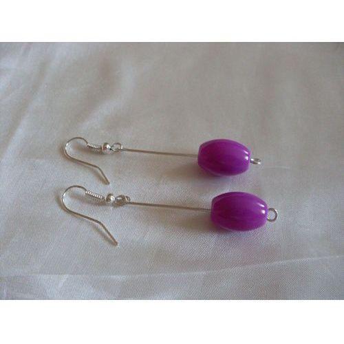 K-00083 Kolczyki fioletowymi baryłkami ze szkła, 28-04-11