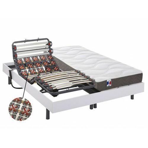 Zestaw relaksacyjny z płytek i listewek 100% lateksu 5-strefowy menelas marki - biały - 2x90x200cm - silniki okin marki Dreamea