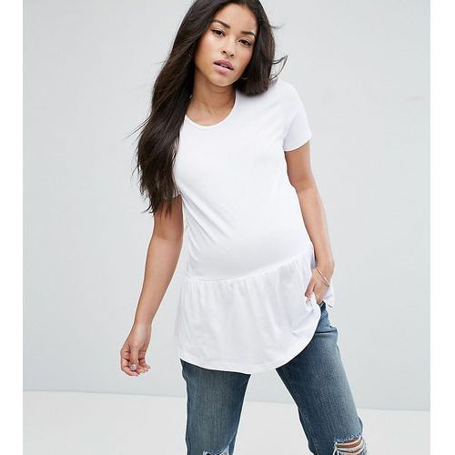 ASOS Maternity PETITE Top with Exaggerated Ruffle Hem and Short Sleeve - Pink