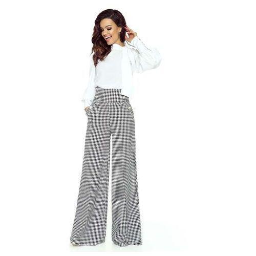 Pepitka Spodnie z Szerokimi Nogawkami z Wysokim Stanem, kolor szary