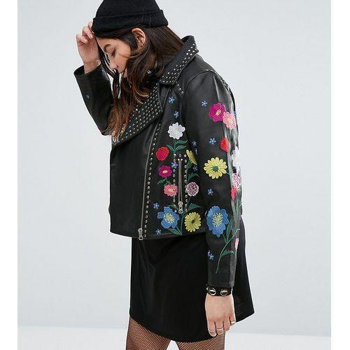 floral embroidered leather biker jacket - black, Asos curve