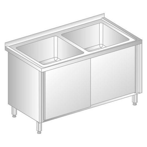 Stół z dwoma zlewami i szafką 1200x600x850 mm | DORA METAL, DM-3226