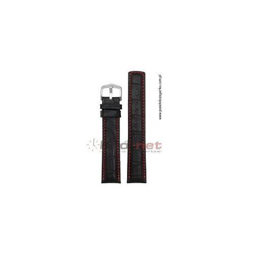 Hirsch Pasek grand duke 18 mm - czarny, czerwone nici