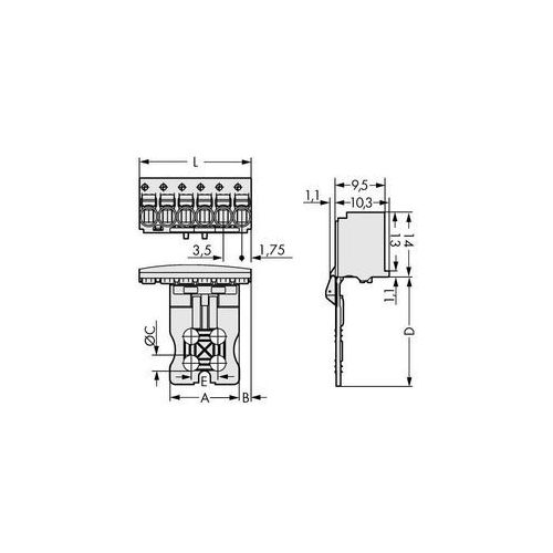 Obudowa męska na PCB WAGO 2091-1102/002-000, Ilośc pinów 2, Raster: 3.50 mm, 100 szt. (4050821411628)