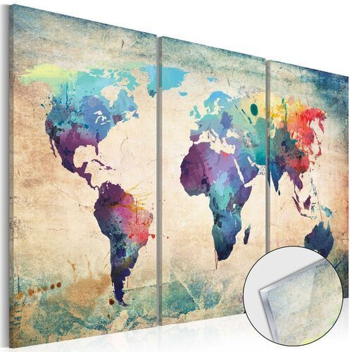 Obraz na szkle akrylowym - tęczowa mapa [glass] marki Artgeist
