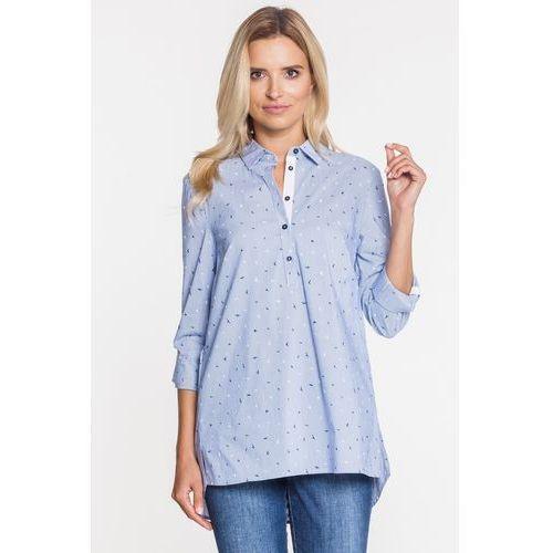koszulowa bluzka w paski z rękawem 3/4 - Anataka, koszulowa