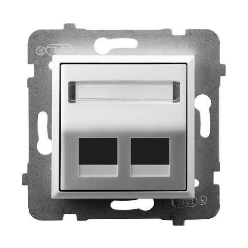 Obudowa gniazda podwójnego typu Keystone skośna GPK-2US/p/00 biała Aria Ospel (5907577482640)