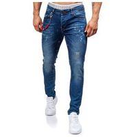 Granatowe spodnie jeansowe męskie denley 303 marki Otantik
