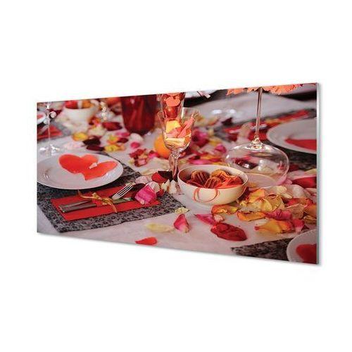 Obrazy na szkle Serca płatki róż kolacja kieliszki