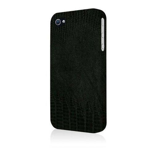Empire Klix Slim-Fit twarde etui Case futerał na telefon komórkowy for Apple iPhone 4/4S – czarna skóra leather Croc (D, KL-ABKIP4S