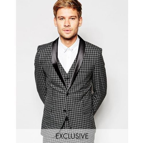 Selected Homme Exclusive Tonal Check Tuxedo Suit Jacket in Skinny Fit - Grey