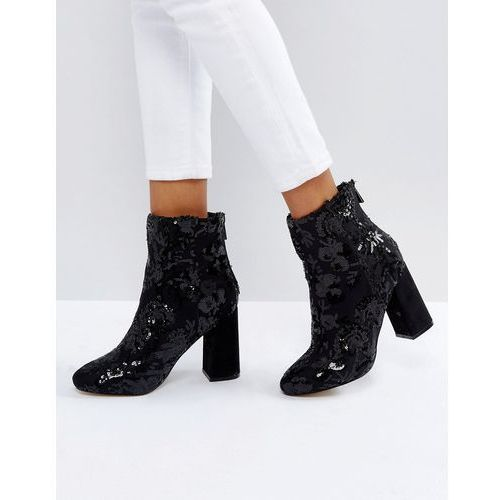 floral sequin embellished heeled ankle boot - black, New look