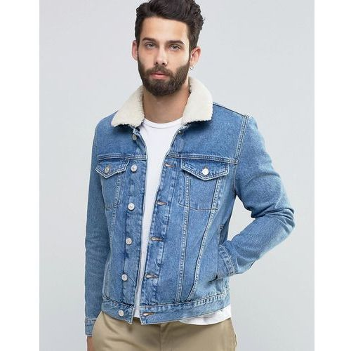 River Island Denim Jacket In Light Wash Blue With Borg Collar - Blue