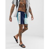 Lacoste colour block swim shorts in navy with drawstring pouch - Navy, 1 rozmiar