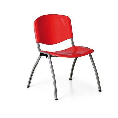 Krzesło kuchenne Livorno Plastic, czerwone, kolor czerwony