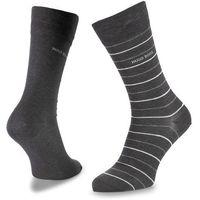 Zestaw 2 par wysokich skarpet męskich BOSS - Twopack Fine Stripe 50310460 012
