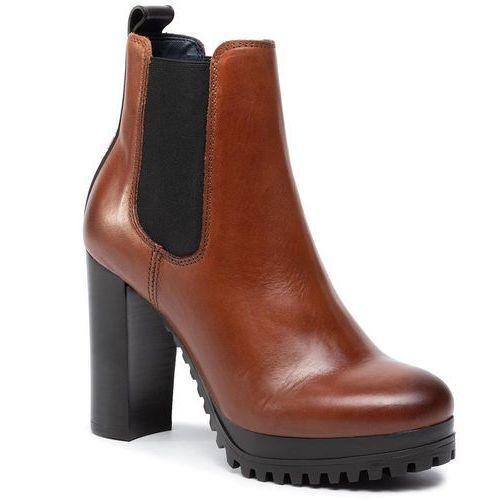 Botki - pin logo heeled chelsea boot en0en00686 winter cognac gvi marki Tommy jeans