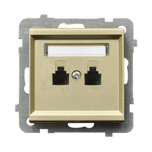 Gniazdo telefoniczne podwójne równoległe p/t, szampański złoty GPT-2RR/m/39 OSPEL SONATA