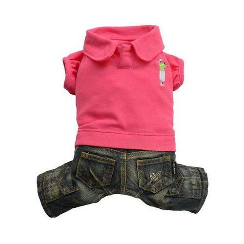 komplet jeans z polo, różowy, m 28-30 cm/41-43 cm - darmowa dostawa od 95 zł! marki Doggy dolly