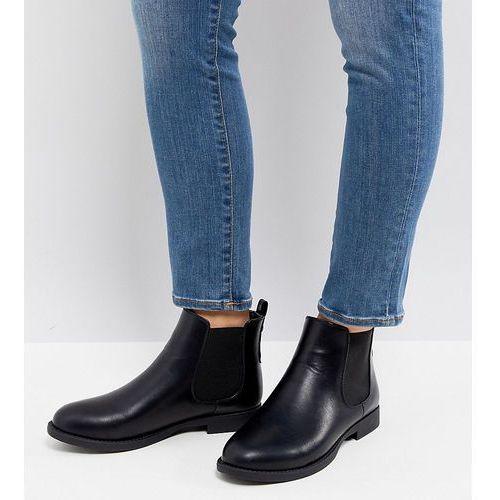Park lane wide fit flat chelsea boots - black