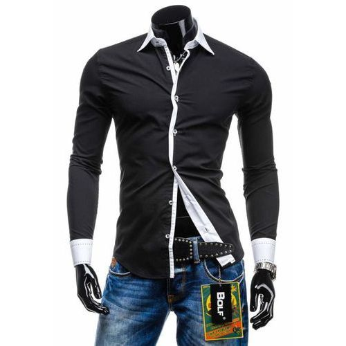 Koszula męska elegancka z długim rękawem czarna Bolf 4750