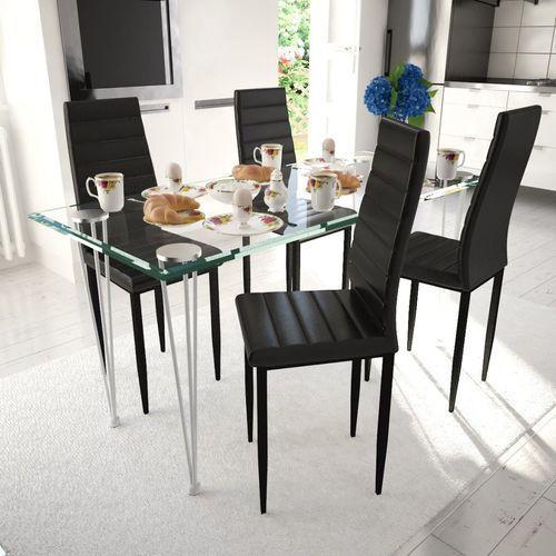 vidaXL Krzesła do jadalni, 4 szt., smukła linia, czarne (8718475901174)
