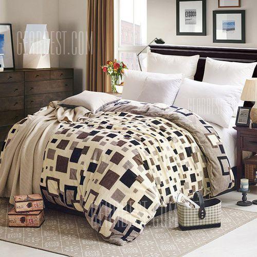 Charming Coral Fleece Geometric Shape Printed Warm Quilt Cover Polyester Blanket - produkt z kategorii- Koce i pledy