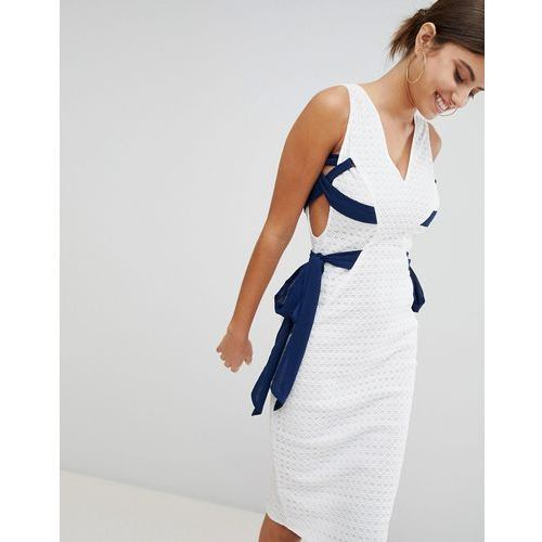 PrettyLittleThing Contrast Tie Lace Midi Dress - White