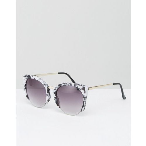 Asos  cat eye sunglasses with cut away frame in marble acetate transfer - multi