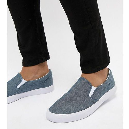 Asos design wide fit slip on plimsolls in blue chambray - blue